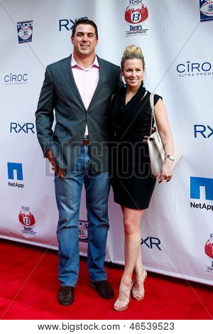 NEW YORK-MAY 30: New York Giants player Zak DeOssie and wife Kate attend the 5th annual Tuck's Celebrity Billiards Tournament at Slate NYC on May 30, 2013 in New York City.
