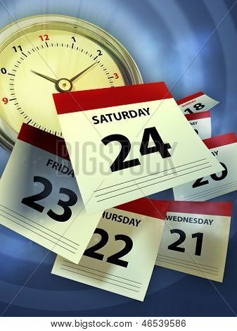 A clock and some calendar sheet symbolizing the passing of time. Digital illustration.