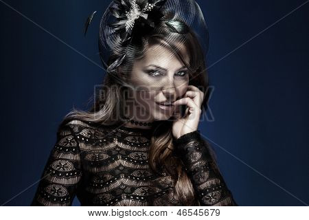 Portrait Of Elegant Attractive Lady In Black.