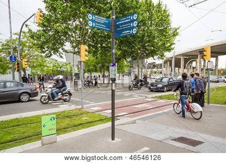 People Going To The Work In The Morning And Waiting To Cross The Diagonal Avenue, In Barcelona, Spai