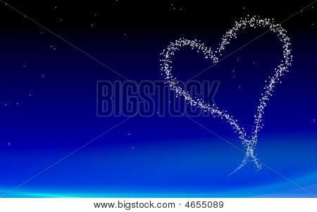 Heart On Night Sky Background
