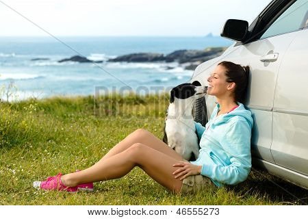 Happy Woman And Dog On Travel