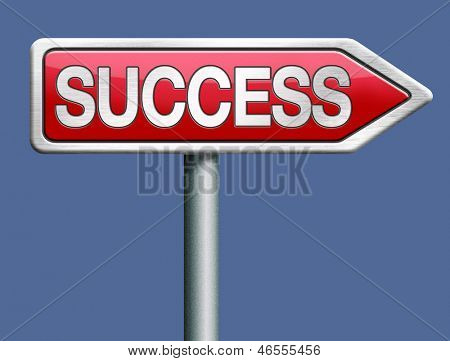 success red road sign arrow with text successful life and business succeed in task exam test or examination