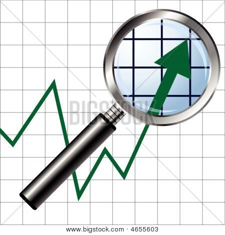 Magnifying Glass Over Chart