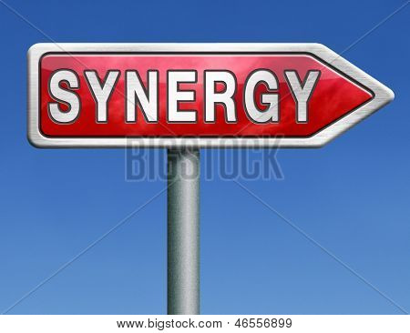 synergy or combined effort working together team work road sign arrow text