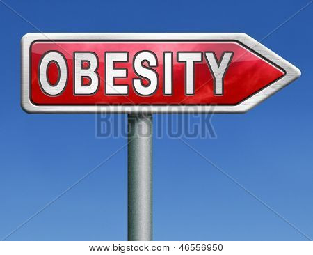 obesity obese man women child kid or children overweight and fat people risk diabetes red road sign arrow with text word concept