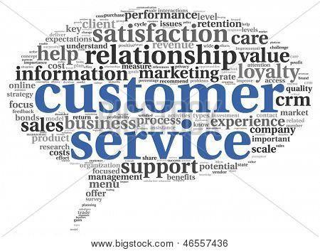 Conceito de serviço ao cliente na nuvem de Tags de palavra em branco