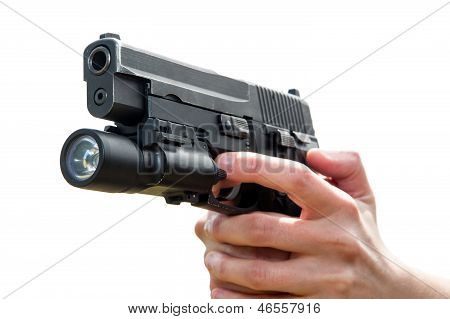 Woman's Hand Holding Gun, Isolated