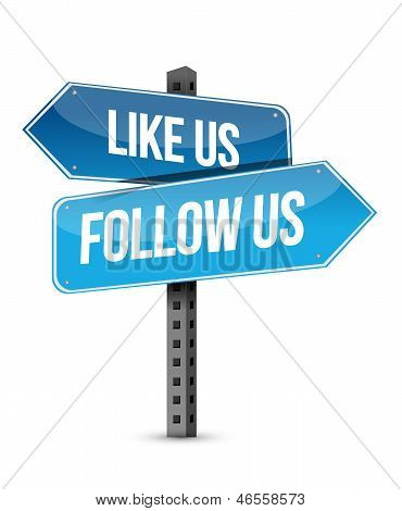Like Us And Follow Us Street Sign