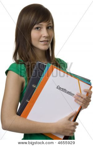 Female Student With Briefcase Certification