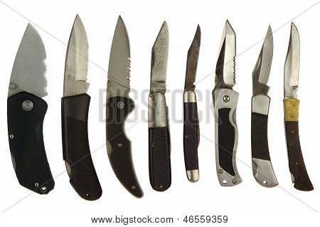 Pocket Knives Isolated On White