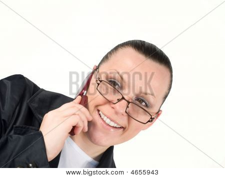 Woman Calling By Phone Isolated On Teh White Background