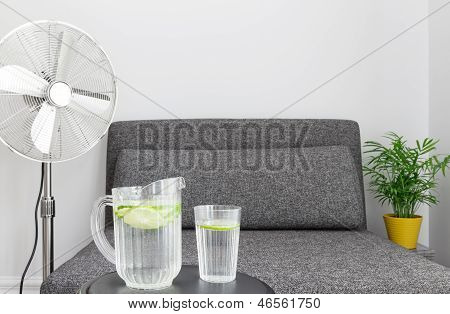 Electric Fan And Water To Cool Down