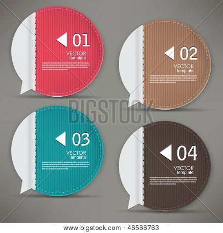 Reihe von Blasen, Aufkleber, Etiketten, Tags. Nummerierte Banner. Vektor Vorlage für Infografiken