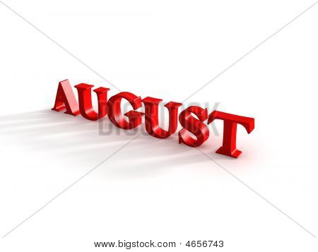 3d generated illustration of month august sign poster