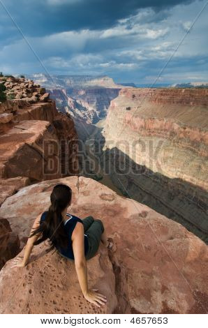 Woman And Grand Canyon At Toroweap