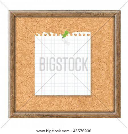 Cork Board With Blank Note Paper And Green Pin With Gradient Mesh, Vector Illustration