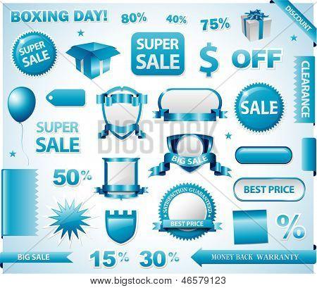 Conjunto de etiquetas de precio azul