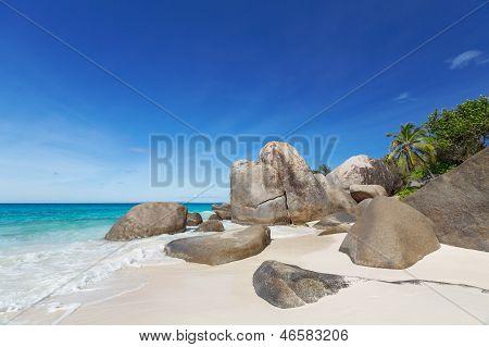 Granite Boulders On The Carana Beach Of Mahe Island, Seychelles