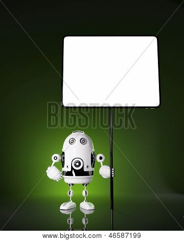 Android Robot With Blank Board