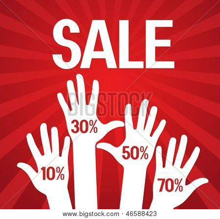 vector illustration. Sale poster with a percentage discount on the background of human hands