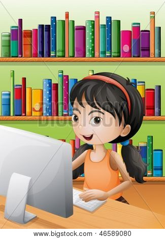 Illustration of a young girl using the computer at the library