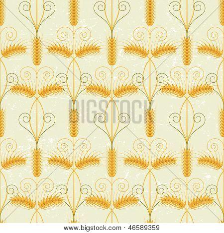 Retro-styled wheat seamless