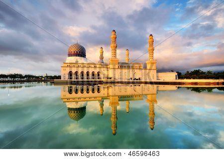 Reflection Of Kota Kinabalu City Mosque