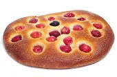 coca amb cireres, a typical catalan cake with cherries for Feast of Corpus Christi, on a white background poster