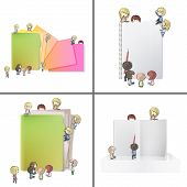Set of images with many children around folder book and notebook. Vector design. poster