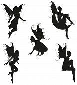 Collection of 5 black vector Fairy silhouettes. poster