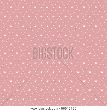 Seamless Pattern: Symmetrically Placed The Crown On The Pink Background