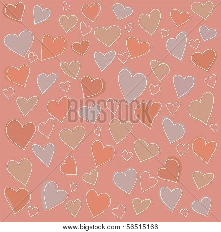 Seamless Pattern: Many Abstract Hearts