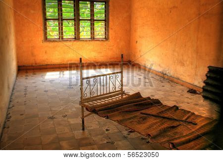 Torture Bed of the Red Khmer at Tuol Sleng, Phnom Penh, Cambodia