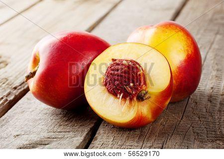 Three Ripe Juicy Nectarine