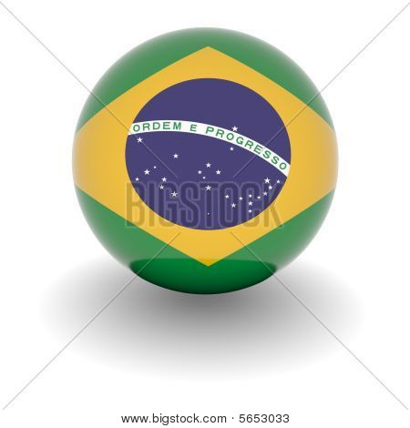 High Resolution Ball With Flag Of Brazil