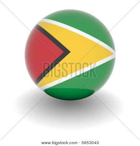 High Resolution Ball With Flag Of Guyana