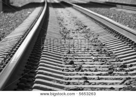 Railway (rails and sleepers streching far away)