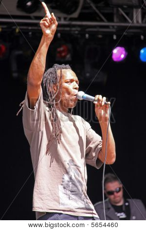 Ranking Roger of ska band The Beat singing on stage at Guilfest, Guildford, UK 12/7/09
