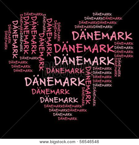 Denmark word cloud in pink letters against black background