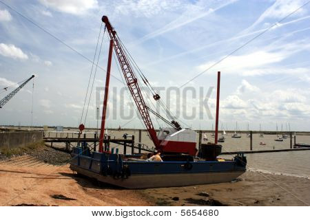 A Barge sitting on the sandbank