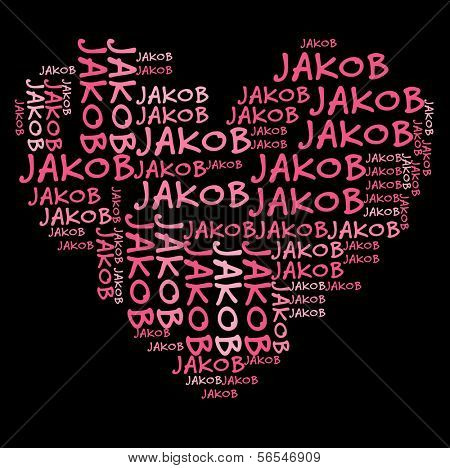 Jakob word cloud in pink letters against black background