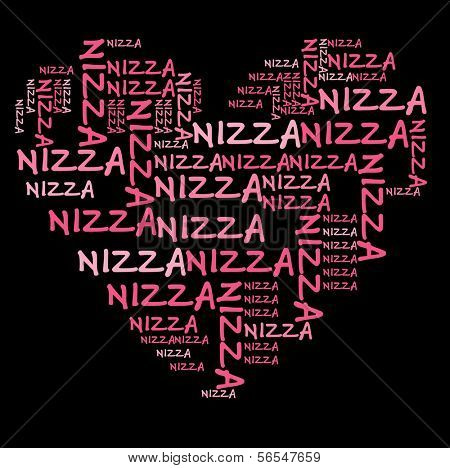 Nizza word cloud in pink letters against black background