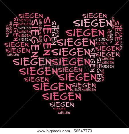 Siegen word cloud in pink letters against black background