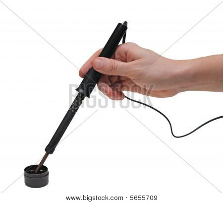 Hands With Soldering Iron, Isolated