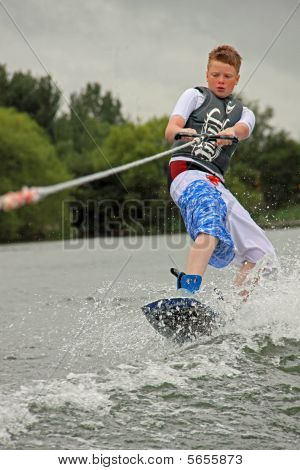 Wake Boarder / wakeboarder at the British Disabled Water Ski-ing Association BDWSA, Heron Lake, Wray