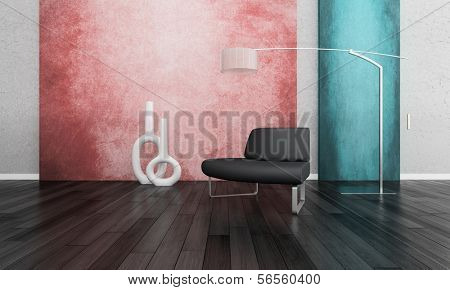 3D rendering of loft apartment interior with minimalist bench, floor lamp against coral and turquise color wall
