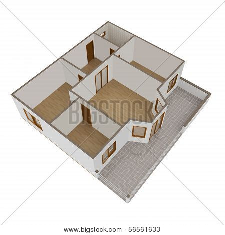 3D Model Flat With Balcony