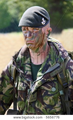 A British Army solidier in uniform at the Bristol Balloon Fiesta, UK 8/8/09
