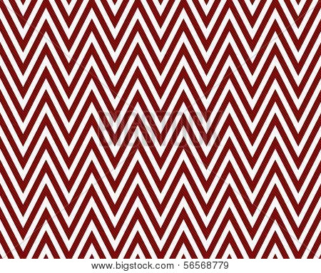 Thin Dark Red and White Horizontal Chevron Striped Textured Fabric Background that is seamless and repeats poster